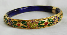 Pretty Gold Metal Cloisonne Enamel Hinged Bangle / Bracelet - NEW