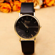 Top Brand Mens Watches Women's Leather STYLISH Dress Quartz BLACK Wrist Watch #2