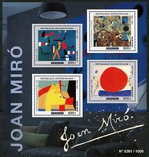 CENTRAL AFRICA  2016 JOAN MIRO  PAINTINGS SHEET  MINT NH
