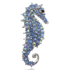 Blue Crystal Rhinestone Sea Horse Collar Brooch Pin Wedding Bridal Gift