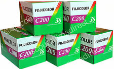 5 x FUJI COLOR C200iso 35mm 36exp COLOUR PRINT CAMERA FILM by 1ST CLASS POST