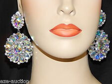 SILVER AB AURORA BOREALIS RHINESTONE CRYSTAL BRIDAL CLIP PARTY EARRINGS /2712