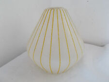 Vintage Small Glass striped Light Shade  Mid Century
