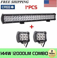 23in 144W CREE LED Work Light COMBO Bar 12V 24V Offroad Fog 4X4 Lamp FREE 2X18W