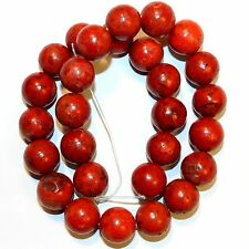 GR1664f Dark Red 16mm Round Sponge Coral Gemstone Beads 16""