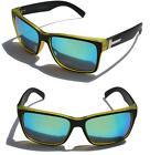 Large Men Matte Square Retro Sunglasses Black Olive Shade Mirror lens 150mm Wide