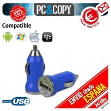 Pack 10 cargadores mechero coche USB 1A para movil tablet azul car 12-24v 1000mA