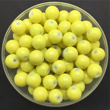 Wholesale 4mm 100 PCS Yellow Glass Round Pearl Spacer Loose Beads Jewelry Making
