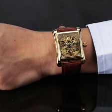Relogio Masculino Relojes brown leather Gold Skeleton Hand Wind Mechanical Watch