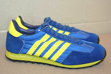 Sz 8 MENS New Vtg 70s Blue Suede Neon 4-STRIPE Pro Am SNEAKER TENNIS NOS SHOE