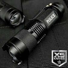 POLICE Tactical 350 LUMENS LED FLASHLIGHT Super Bright BLACK Aluminum OUTDOOR
