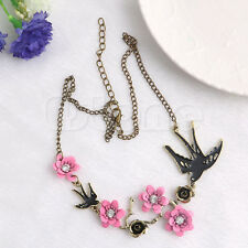 Gorgeous Bird Swallow Flowers Crystal Pendant Chain Necklace for Women Lady