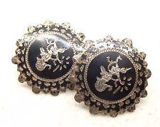 Vtg Sterling Silver Siam Earrings Screw Back Niello Thai Goddess Goddess Dancer