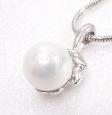 Women Pendant Necklace White Gold Plated 8mm Shell Pearl Girl Lady Xmas Birthday