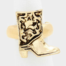 "1"" gold cowboy boot western cowgirl stretch ring"