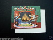 Vintage Erica Von Kager Brownie Xmas Greeting Card Couple by Holiday Fireplace