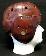 Old Antique Early 1930's Brown Leather Football Helmet Vintage & Display Stand
