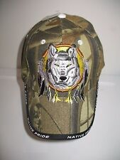 Native American Pride Wolf In Dream Catcher Camouflage Baseball Ball Cap Hat