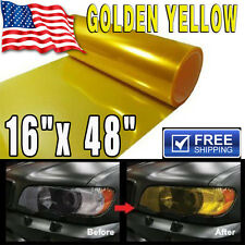 "16""x 48"" Gloss Golden Yellow Smoke HeadLight Tailight Fog light Tint Film Sheet"
