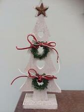 Shabby Country Style Chic Small Wooden Christmas Tree Standing Decoration