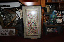 Vintage Chinese Needlepoint Tapestry-Children Boys Playing-Framed-LQQK
