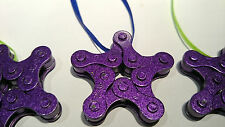 Purple Recycled Bicycle Chain Star Shaped Ornament or Key Chain.  Hand Made.