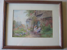 Arthur S. Wilkinson Original Watercolor English Thatch-Roof Cottage Garden, Sign