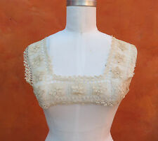 Antique Vintage Lace yoke Top 1900s Victorian Dress Nightgown Edwardian Ecru