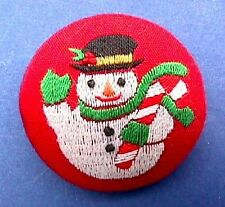 BUY1&GET1@50%~Hallmark PIN Christmas STITCHERY SNOWMAN Embroidered Vtg Brooch