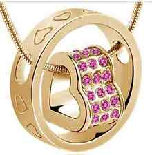 GOLD COLOURED VIOLET JEWELLED HEART SHAPE PENDANT (N12) MORE AVAILABLE