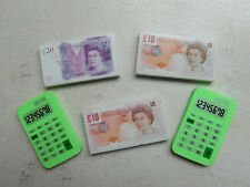 Unused: SET of 5 NOVELTY ERASERS/RUBBERS - 2 x CALCULATORS & 3 BRITISH NOTES