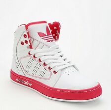 ADIDAS SHOES KISS PRINT HIGH TOP SNEAKERS WHITE RED LEATHER 7 WOMEN'S