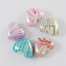 10 x Acrylic Love Hearts Candy Stripe Puffed Beads Drawbench - Glossy 18MM PB19
