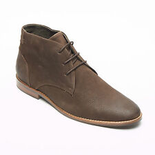 Lucini Mens Oily Leather Lace Up Smart Casual Ankle Chukka Desert Boots Brown