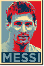 Lionel Messi Arte Foto Stampa (Obama Hope) POSTER regalo calcio