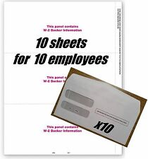 IRS Tax Forms:: W-2 blank 3-up with backer #TF5211 for 10 employees + envelopes