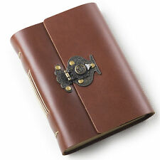 Ancicraft Leather Journal with Retro Flower Vase Lock A6 Lined Paper Red Brown