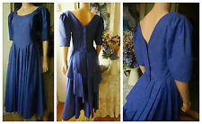 Laura Ashley Vintage Dress UK Todays Size 10 Blue Victorian Bustle Dress 1950,s