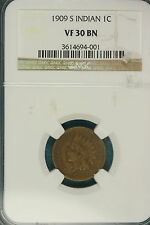 1909-S Ngc Vf30 Brown Indian Head Cent! #Fe