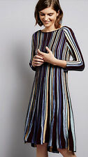 Nwt Anthropologie Nora Swing High Low Hem Dress Sz M Striped Knit Blue