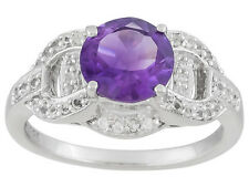 1.65 CTW AMETHYST AND .55 CTW WHITE TOPAZ  RING SET IN 925 STERLING SILVER SZ 7