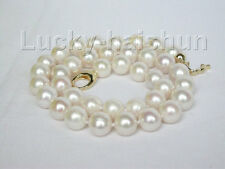 "18"" natural 12mm round white Freshwater pearls necklace filled gold j8763"