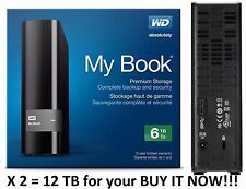WD Western Digital 6TB MY BOOK External Hard Drive 3.0USB WDBFJK0060HBK X 2 12TB