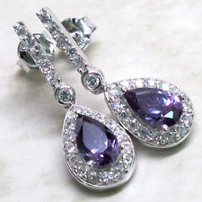 UNIQUE 2 CT AMETHYST 925 STERLING SILVER STUD EARRINGS