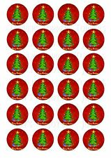 24 CHRISTMAS TREE CUPCAKE TOPPER WAFER RICE EDIBLE FAIRY CAKE BUN TOPPERS