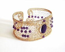 diy pdf tutorial Wire Wrapping Jewelry Filigree Amethyst Bangle,casual,occasion