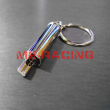 Chrome Catback Exhaust Dual Muffler Metal Auto Racing Part Keychain Keyring