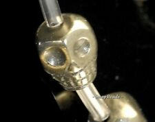 """8MM PALAZZO IRON PYRITE GEMSTONE CARVED SKULL HEAD 8X8MM LOOSE BEADS 15.5"""""""