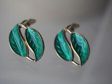 Vtg David Andersen Gold Wash Green Enamel Double Leaf Sterling Earrings MCM FC
