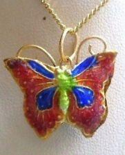 collier pendentif couleur or papillon émail cloisonné rouge double face 4949